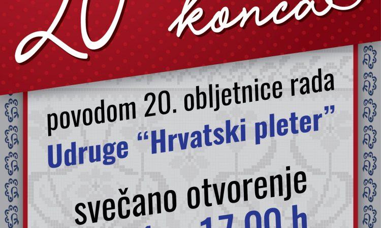 """UDRUGA """"HRVATSKI PLETER"""" Izložba povodom 20. obljetnice rada"""