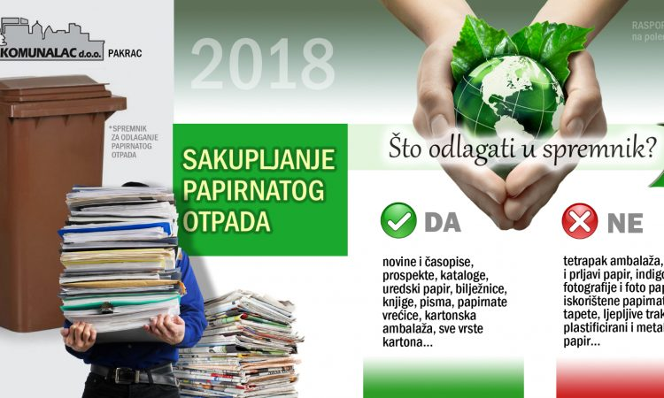 """PAPIRNATI OTPAD """"Komunalac"""" nastavlja s odvozom na području Pakraca"""