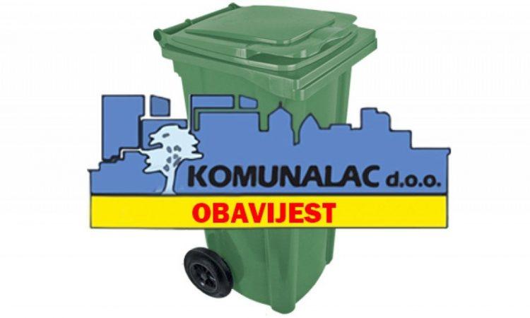 KOMUNALAC Zbog blagdana promjena termina odvoza smeća