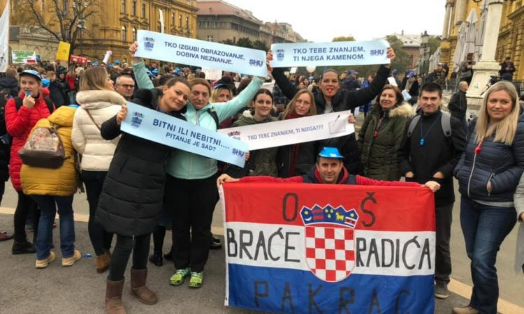 ŠTRAJK U ŠKOLAMA Na zagrebačkom prosvjedu 40 pakračkih prosvjetara